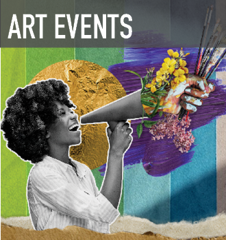 collaged artwork featuring a woman of colour joyfully shouting into a megaphone full of flowers, on a background of abstract shapes in bright green, blue and purple. Advertising for Art Events