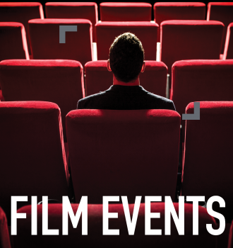 a person sitting alone in the center of a theatre filled with red seats. an ad for film events.