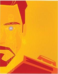 Tony Stark superimposed over Ironman figure